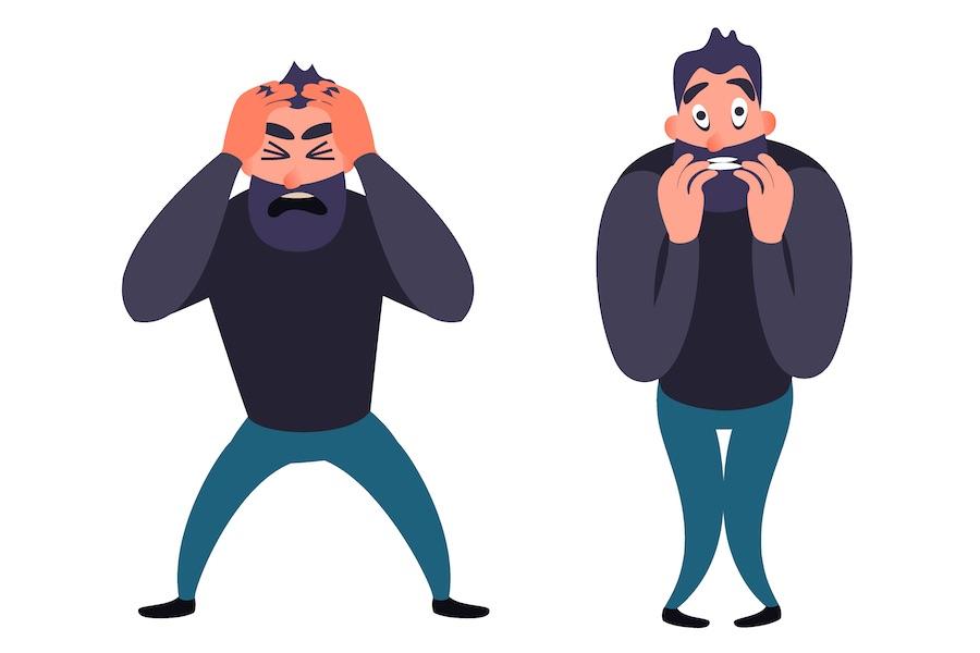 CBDグミを食べる目的はストレスの軽減 ストレスで悩んでいる男性のイラスト
