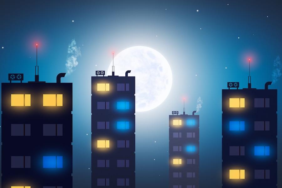 眠れない人達が住む深夜の街の景色