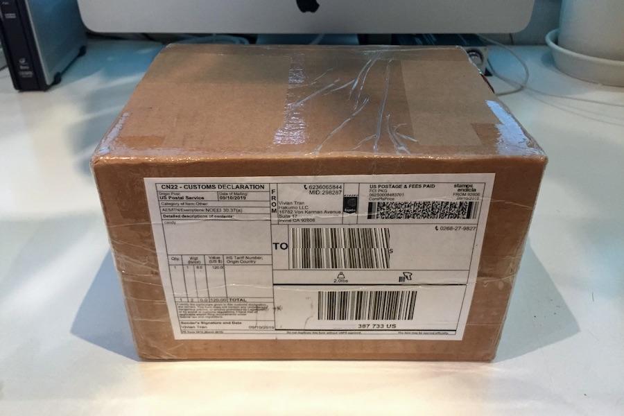 アメリカから送られてきた梱包されたヘンプグミの写真