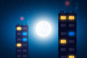 満月をバックに立ち並ぶビルの窓明かり2